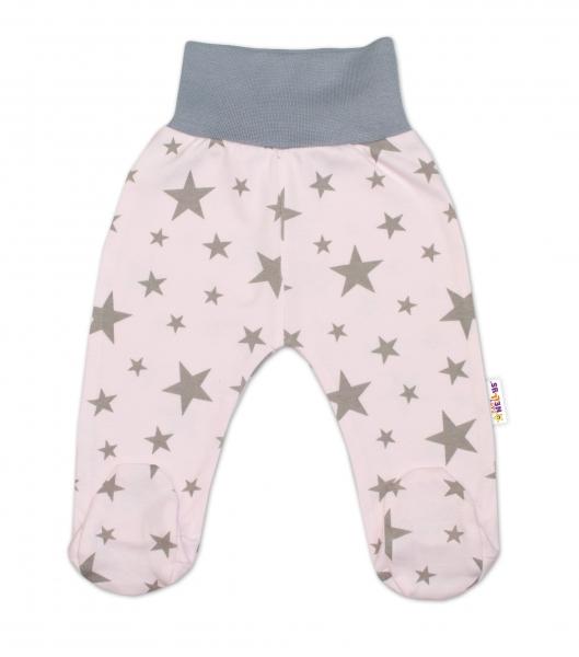 Bavlnené dojčenské polodupačky Baby Nellys ® - růžové, hviezdičky - sivé, veľ. 74-74 (6-9m)