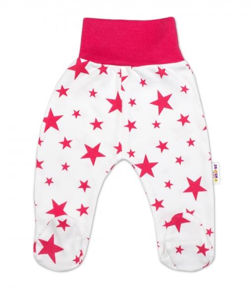 Bavlnené dojčenské polodupačky Baby Nellys ® - biele, hviezdičky - malinové, veľ. 68
