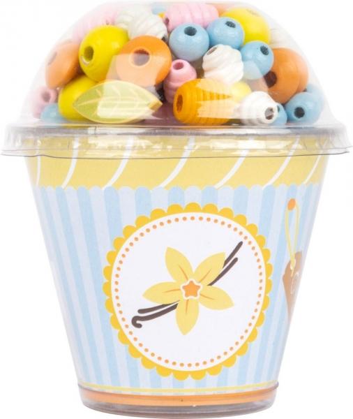 Drevené korálky Cupcake - žlté