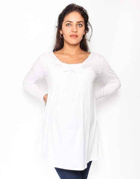 Be MaaMaa Volná tehotenská blúzka / tunika dlhý rukáv Aria - biela, veľ. S