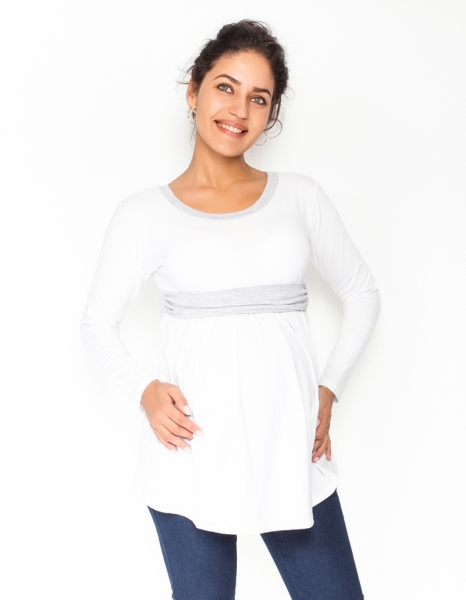 Be MaaMaa Tehotenská tunika s opaskom, dlhý rukáv Amina - biela /pásik sivý-XS (32-34)