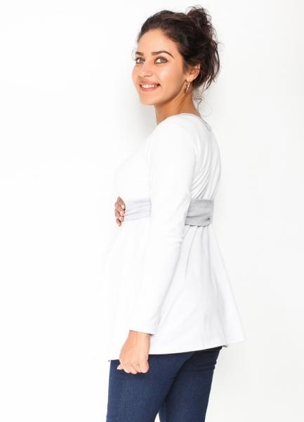 Tehotenská tunika s opaskom, dlhý rukáv Amina - biela /pásik sivý