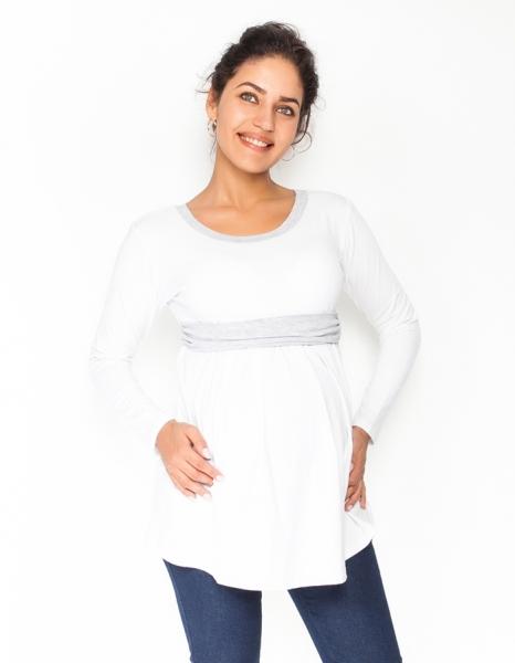 Tehotenská tunika s opaskom, dlhý rukáv Amina - biela /pásik sivý, veľ. S-S (36)