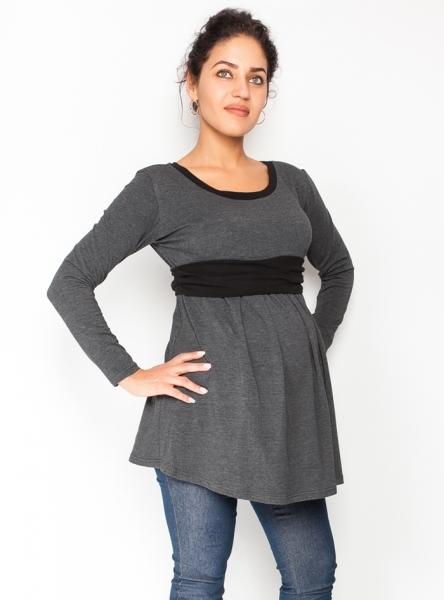 Tehotenská tunika s opaskom, dlhý rukáv Amina - grafit /pásik čierny