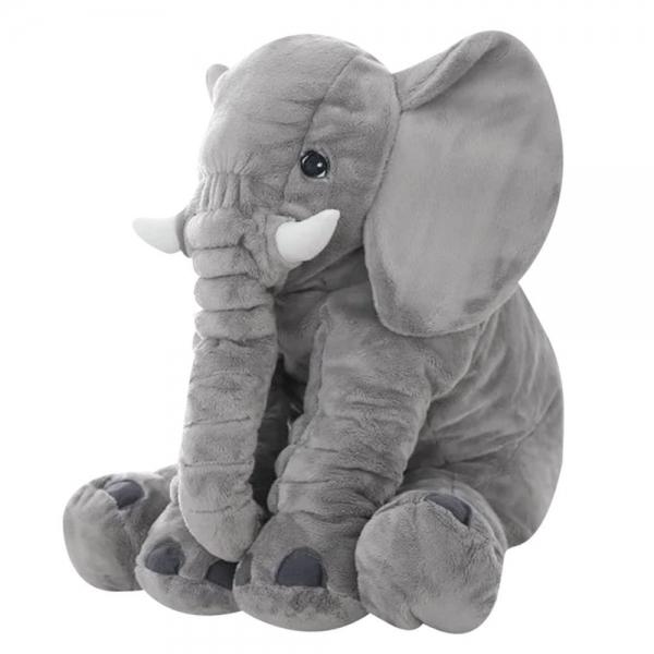 TTM Child Plyšový sloník - dekoračný vankúšik 60 cm - sivý