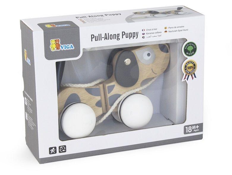 Edukačná drevená hračka ťahacia - Psík šedo-biely
