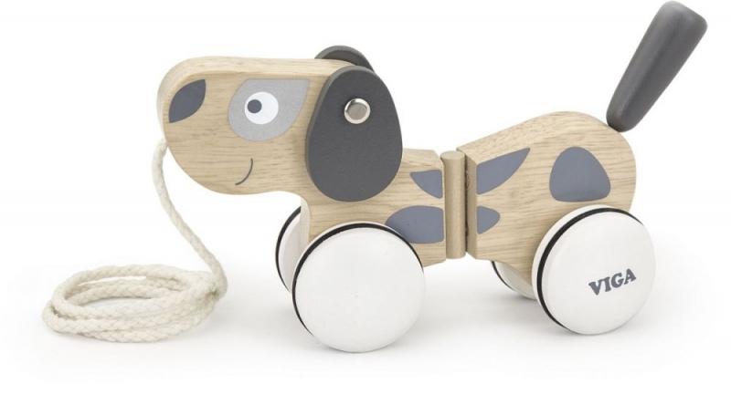 VIGA Edukačná drevená hračka ťahacia - Psík šedo-biely