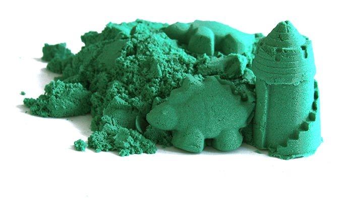 Kinetický piesok - zelený - 2kg + formičky zadarmo