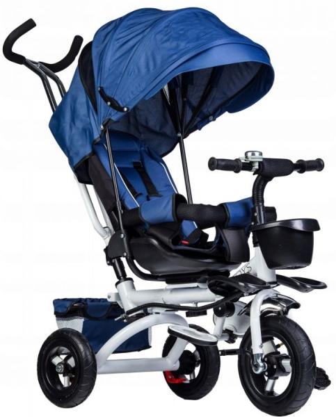 Eco toys Detská trojkolka Lux s vodiacou tyči - modrá