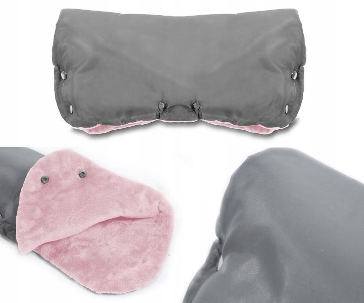 Rukávnik ku kočíku fleece - sivý/ružový