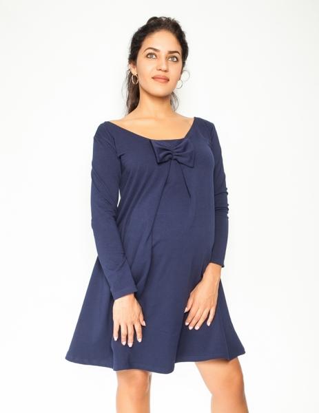 Be MaaMaa Elegantné tehotenské šaty, áčkový strih, dlhý rukáv - granátové, veľ. M