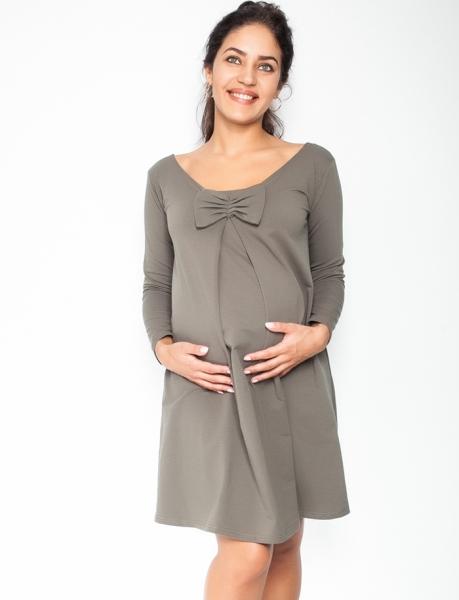 Elegantné tehotenské šaty, áčkový strih, dlhý rukáv - khaki