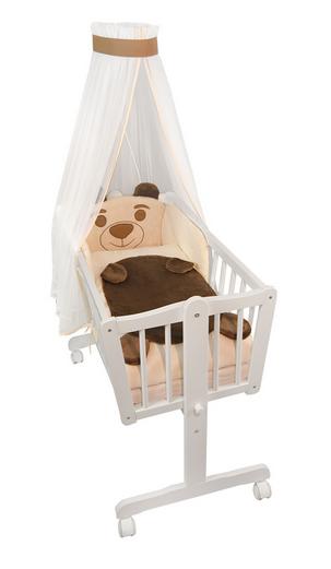 NELLYS Drevená kolíska s plnou výbavou Animal -Medvídek béžový