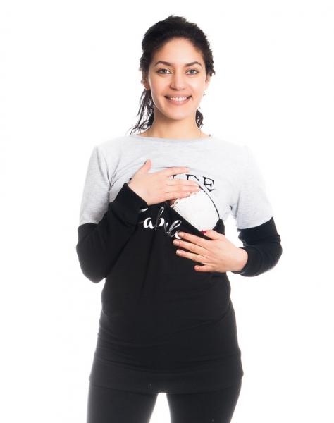 Tehotenské a dojčiace triko/mikina Fabulous, dlhý rukáv, čierno-sv. sivá