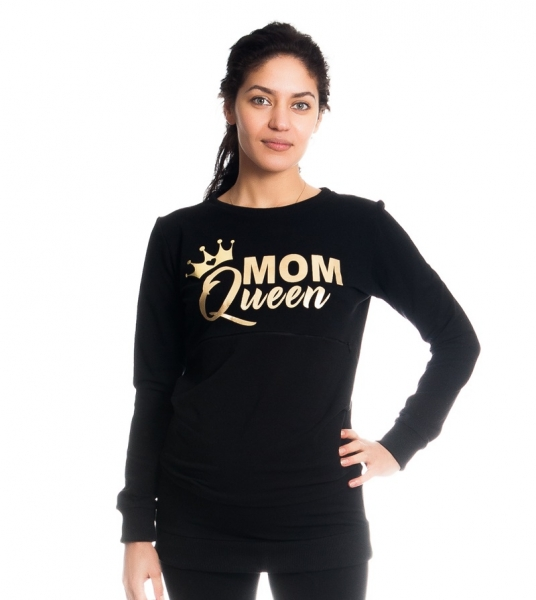 Be MaaMaa Tehotenské a dojčiace triko/mikina Mom Queen, dlhý rukáv, čierna-XS (32-34)