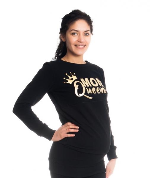 Be MaaMaa Tehotenské a dojčiace triko/mikina Mom Queen, dlhý rukáv, čierna