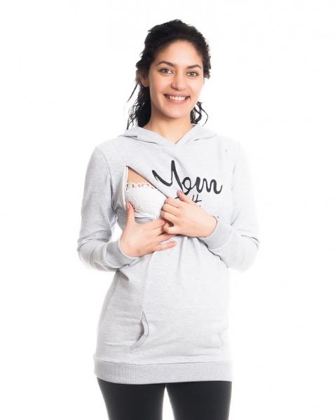 Tehotenské a dojčiace triko/mikina Mom Boss, dlhý rukáv, sv. sivé