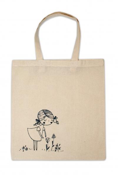 Detská bavlnená taška k vyfarbenie - Dievčatko
