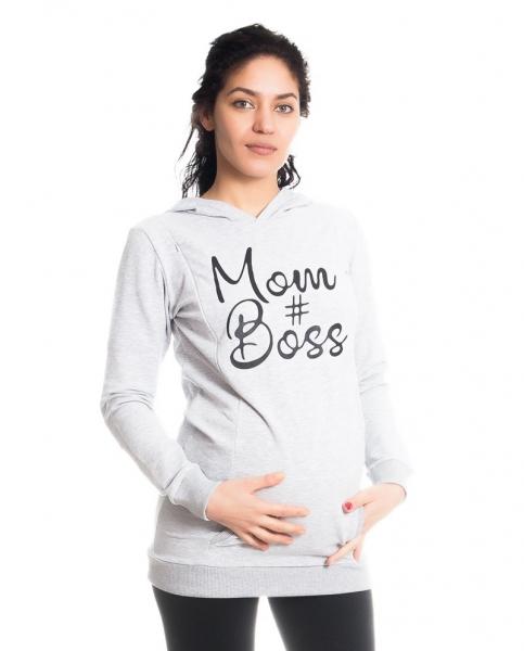 Be MaaMaa Tehotenské a dojčiace triko/mikina Mom Boss, dlhý rukáv, sv. sivé, veľ. S