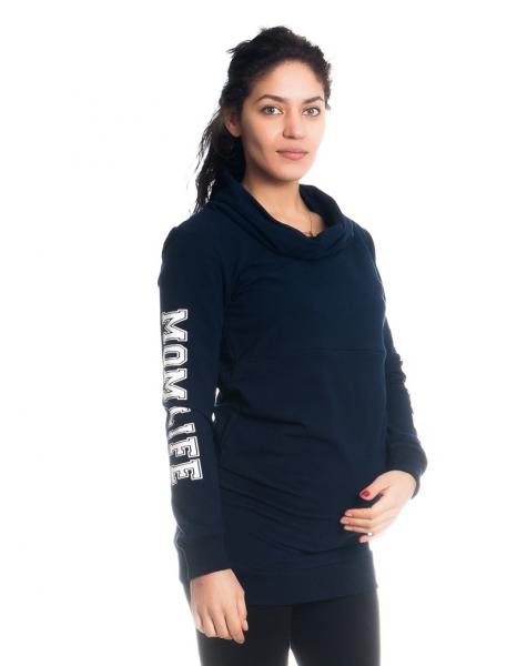 Be MaaMaa Tehotenské a dojčiace triko/mikina Mom Life, dlhý rukáv, granátové-XS (32-34)