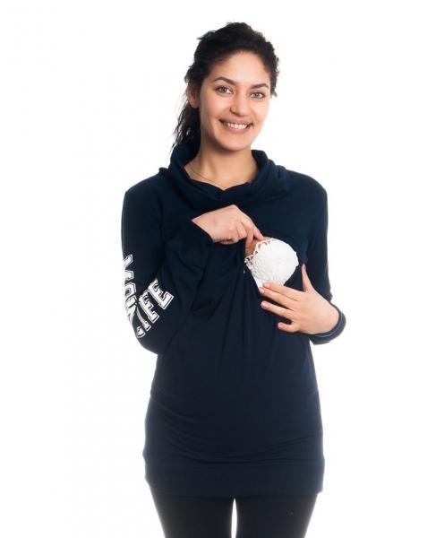 Tehotenské a dojčiace triko/mikina Mom Life, dlhý rukáv, granátové