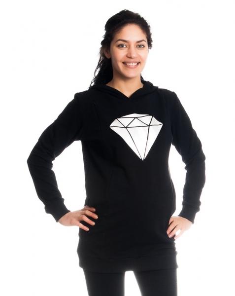 Be MaaMaa Tehotenské a dojčiace triko/mikina Diamant, dlhý rukáv, čierne-XS (32-34)