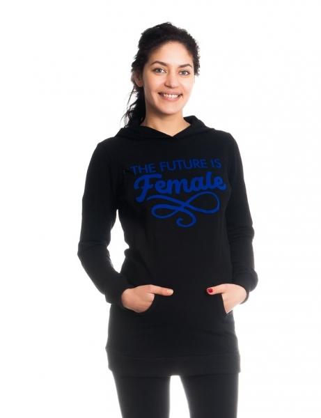 Tehotenské a dojčiace triko/mikina Future is Female, dlhý rukáv, čierne