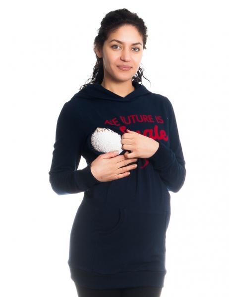 Tehotenské a dojčiace triko/mikina Future is Female, dlhý rukáv, granátové