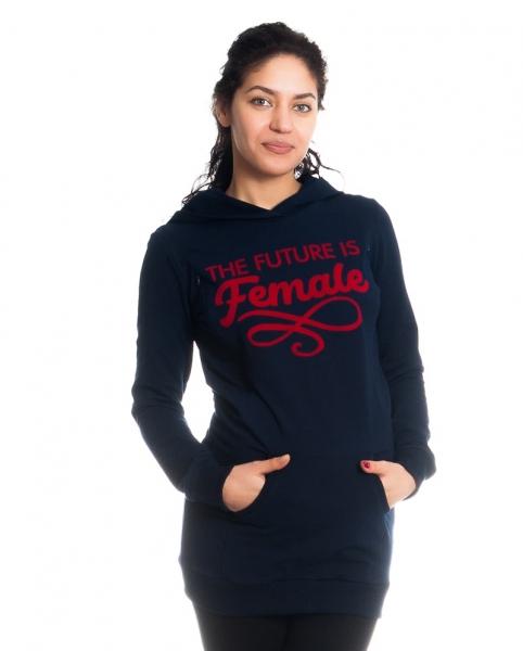 Tehotenské a dojčiace triko/mikina Future is Female, dlhý rukáv, granátové, veľ. M