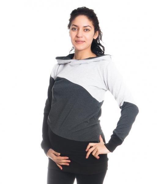 Tehotenské a dojčiace triko/mikina Tiffany s kapucňou , dl. rukáv, široké pruhy, veľ. M-M (38)