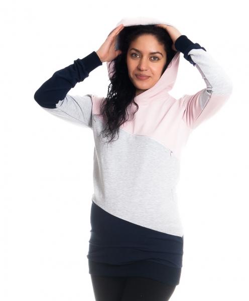 Tehotenské a dojčiace triko/mikina Tiffany s kapucňou , dl. rukáv, široké pruhy
