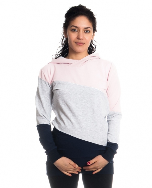 Tehotenské a dojčiace triko/mikina Tiffany s kapucňou , dl. rukáv, široké pruhy, veľ. L