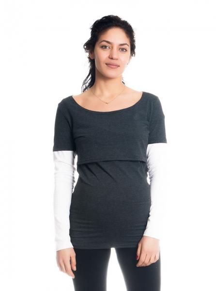 Be MaaMaa Tehotenské, dojčiace tričko / blúzka dlhý rukáv Ria - grafit/biele, veľ. M