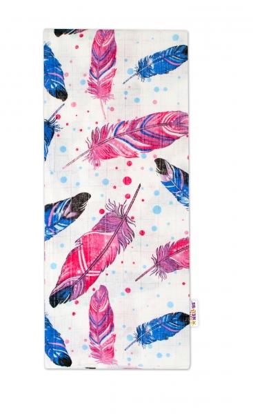 Kvalitná bavlnená plienka - Tetra Lux, 70x80cm, farebná pierka - modrá růžová