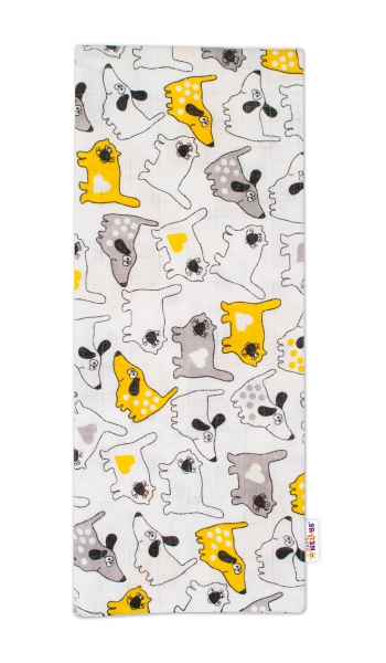 Kvalitná bavlnená plienka - Tetra Lux, 70x80cm, psík a mačička - sivá / žltá