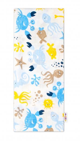 Baby Nellys Kvalitná bavlnená plienka - Tetra Lux, 70x80cm, morská zvieratka, modrá/žltá