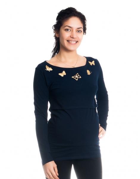 Be MaaMaa Tehotenské, dojčiace tričko / blúzka dlhý rukáv s potlačou motýliků - granátové