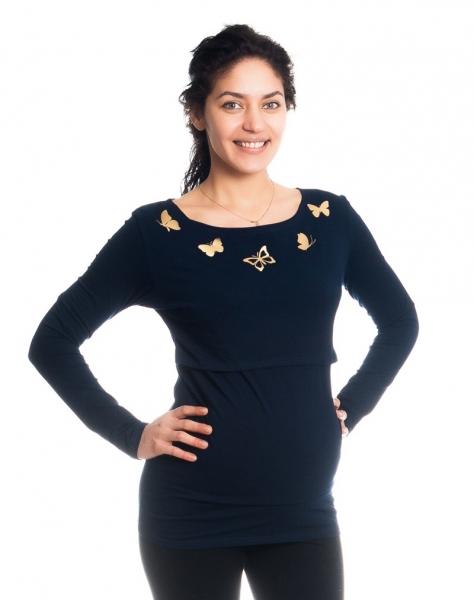 Tehotenské, dojčiace tričko / blúzka dlhý rukáv s potlačou motýliky - granátové