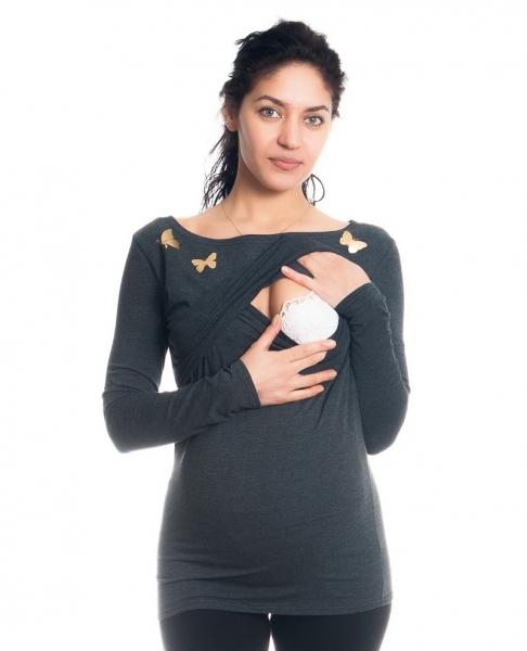 Tehotenské, dojčiace tričko / blúzka dlhý rukáv s potlačou motýliky- grafitové