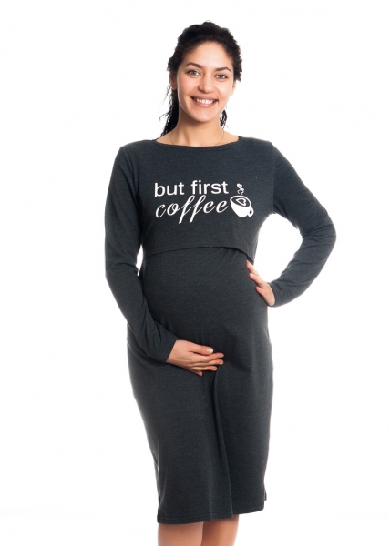 """Tehotenská, dojčiaca nočná košeľa """"But First Coffee"""" - grafit"""