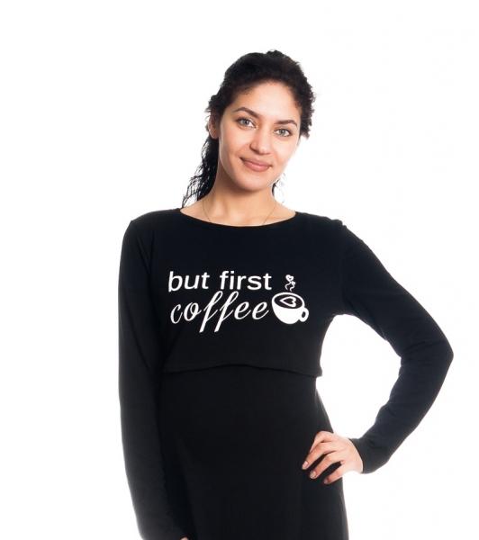 """Tehotenská, dojčiaca nočná košeľa """"But First Coffee"""" - čierna"""