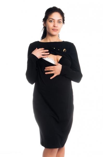 """Tehotenská, dojčiaca nočná košeľa """"Blessed Mama"""" - čierna"""