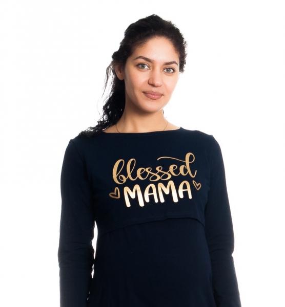 """Tehotenská, dojčiaca nočná košeľa """"Blessed Mama"""" - granátová"""