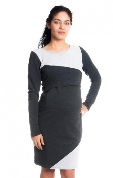 Tehotenské / dojčiace šaty Jane, dlhý rukáv - grafitové
