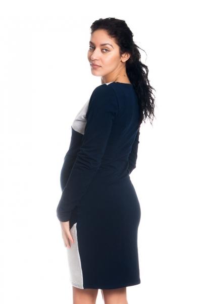 Tehotenské / dojčiace šaty Jane, dlhý rukáv - granátové