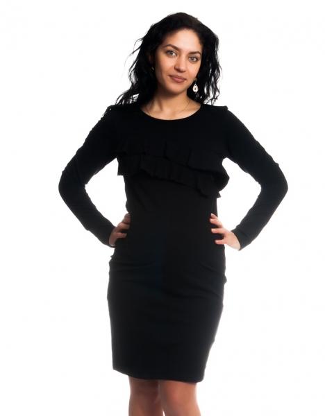 Tehotenské / dojčiace šaty z volánkom, dlhý rukáv - čierne