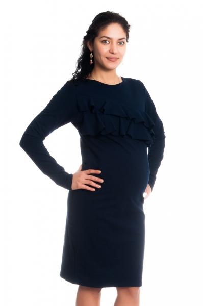 Tehotenské / dojčiace šaty z volánkom, dlhý rukáv - granátové