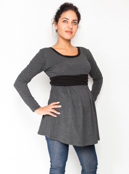 Be MaaMaa Tehotenská tunika s opaskom, dlhý rukáv Amina - grafit /pásik čierny, veľ. XL
