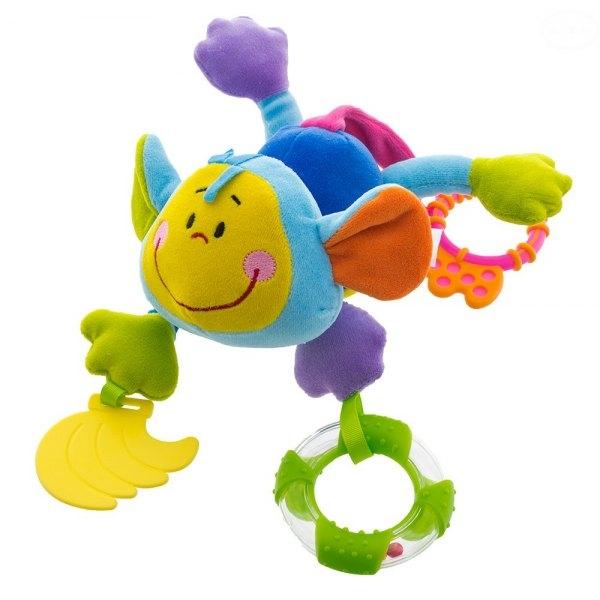 Euro Baby Plyšová hračka s hryzátkom a hrkálkou -Opička - modrá, D19