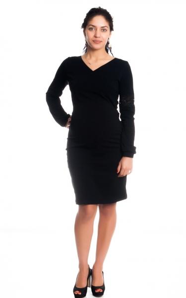 Tehotenské / dojčiace šaty Kristýna, dlhý rukáv zdobené čipkou - čierne